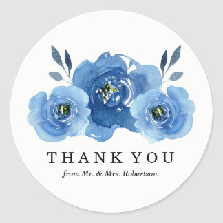 Indigo Flowers | Wedding Thank You Stickers
