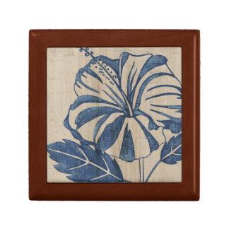 Indigo Hibiscus Small Square Gift Box