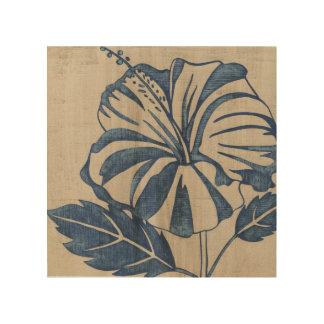 Indigo Hibiscus Wood Canvases
