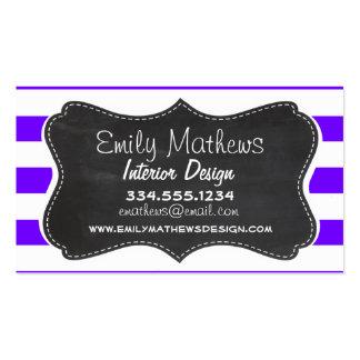 Indigo Horizontal Stripes Chalkboard Business Cards