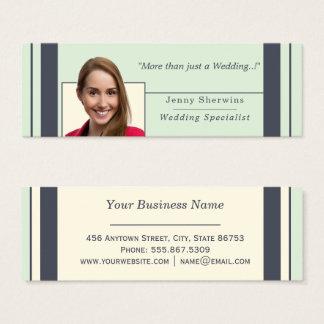 Indigo Ivory Trendy Simple Edge Striped Template Mini Business Card