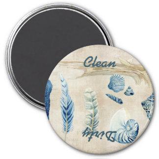 Indigo Ocean Beach Sketchbook Watercolor Shells 7.5 Cm Round Magnet