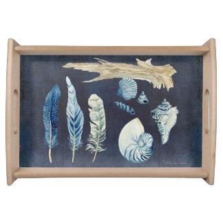 Indigo Ocean Beach Sketchbook Watercolor Shells Serving Platter