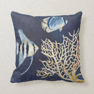Indigo Ocean Beach Tropical Fish Watercolor Coral Cushion