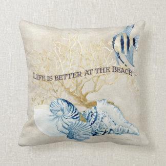 Indigo Ocean Life is Better at the Beach Shells Cushion