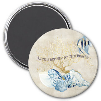 Indigo Ocean Life is Better at the Beach Shells Refrigerator Magnets