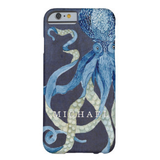 Indigo Ocean Octopus w Red Coral Watercolor Art Barely There iPhone 6 Case
