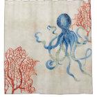 Indigo Ocean Parchment Red Fan Coral Blue Octopus Shower Curtain