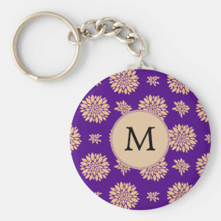 Indigo Purple and Coral Flowers Basic Round Button Key Ring