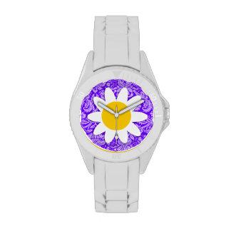 Indigo, Purple Damask; Daisy Wrist Watch