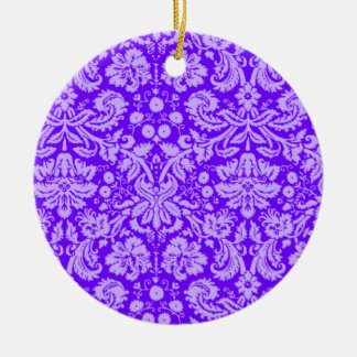 Indigo, Purple Damask Christmas Tree Ornament
