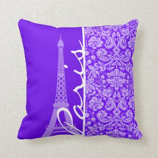 Indigo, Purple Damask; Paris; Eiffel Tower Cushion