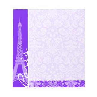 Indigo, Purple Damask; Paris; Eiffel Tower Notepad
