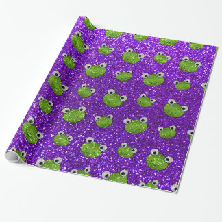 Indigo purple frog head glitter pattern wrapping paper