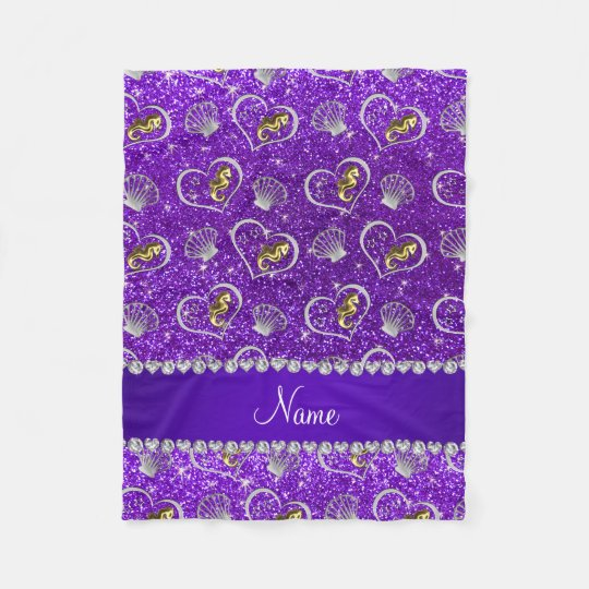 Indigo purple glitter gold seahorses silver shells fleece