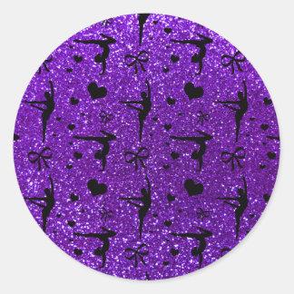 Indigo purple gymnastics glitter pattern classic round sticker