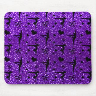 Indigo purple gymnastics glitter pattern mouse mat