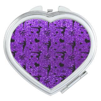 Indigo purple gymnastics glitter pattern travel mirror