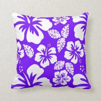 Indigo, Purple Hawaiian Tropical Hibiscus Cushion