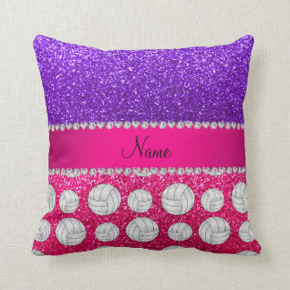 Indigo purple neon hot pink glitter volleyballs cushion