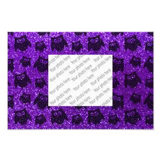 Indigo purple owl glitter pattern photo print