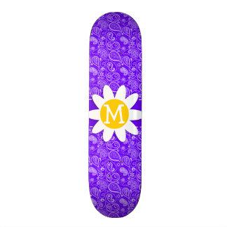 Indigo Purple Paisley Daisy Skate Board