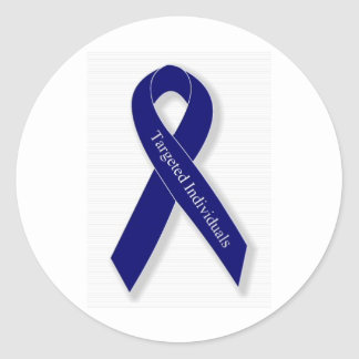 Indigo Ribbon Classic Round Sticker