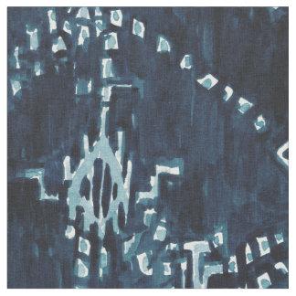 Indigo Satellite Ikat Tribal Watercolor Fabric