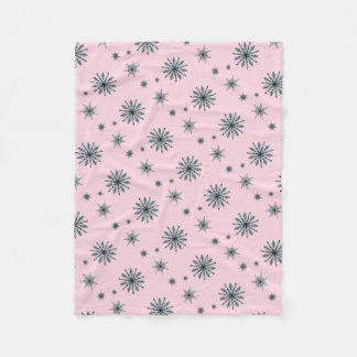 Indigo star snowflake on pastel pink fleece blanket
