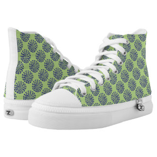 Indigo striped circle pattern on green printed shoes