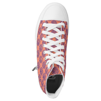 Indigo striped circle pattern on pink orange printed shoes