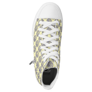 Indigo striped circle pattern on yellow printed shoes