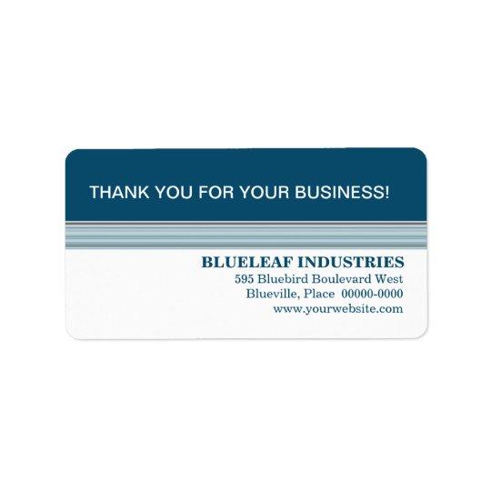 Indigo Stripes Business Thank You Label Address Label