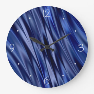 Indigo & violet blue satin style stripes large clock
