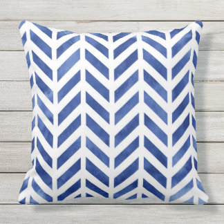 Indigo Watercolor Herringbone Chevron Cushion