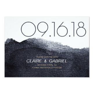 Indigo watercolor modern simple save the date card