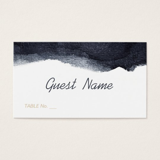 Indigo watercolor modern simple wedding place card