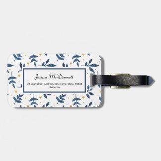 Indigo with gold faux stars luggage tag