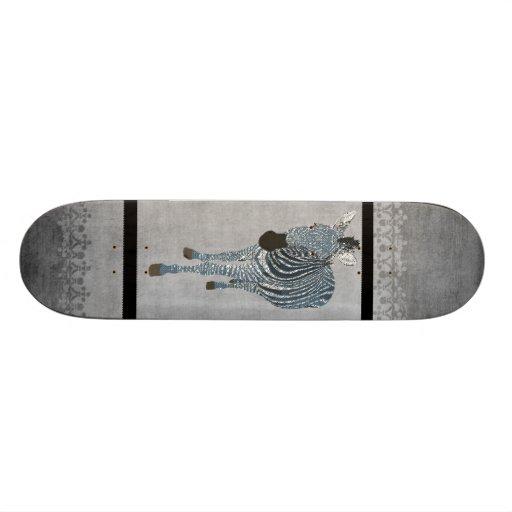 Indigo Zebra Grunge Grey Skateboard