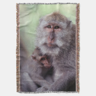 Indonesia, Bali, Ubud, Long-tailed Macaque 1 Throw Blanket