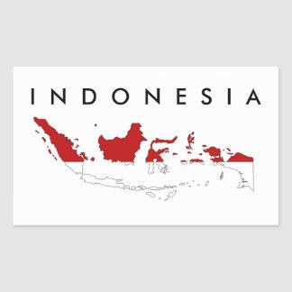 Indonesia country flag map shape silhouette rectangular sticker