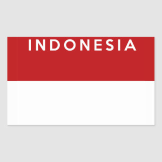 indonesia country flag text name rectangular sticker