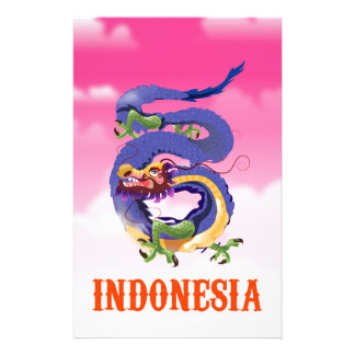 Indonesia Dragon retro travel poster Stationery