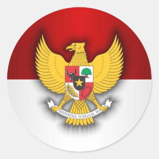 Indonesia Flag and Emblem Round Sticker
