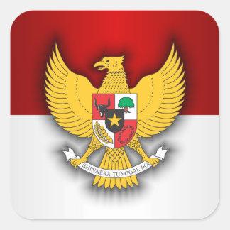 Indonesia Flag and Emblem Square Sticker