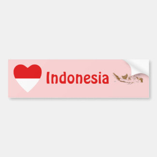 Indonesia Flag Heart + Map Bumper Sticker