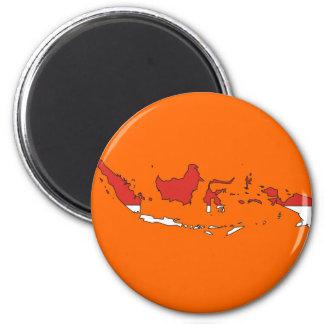 Indonesia flag map 6 cm round magnet