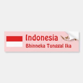 Indonesia Flag + Map Bumper Sticker