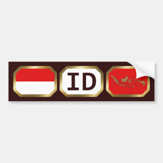 Indonesia Flag Map Code Bumper Sticker