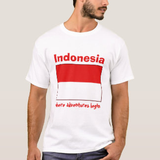 Indonesia Flag + Map + Text T-Shirt
